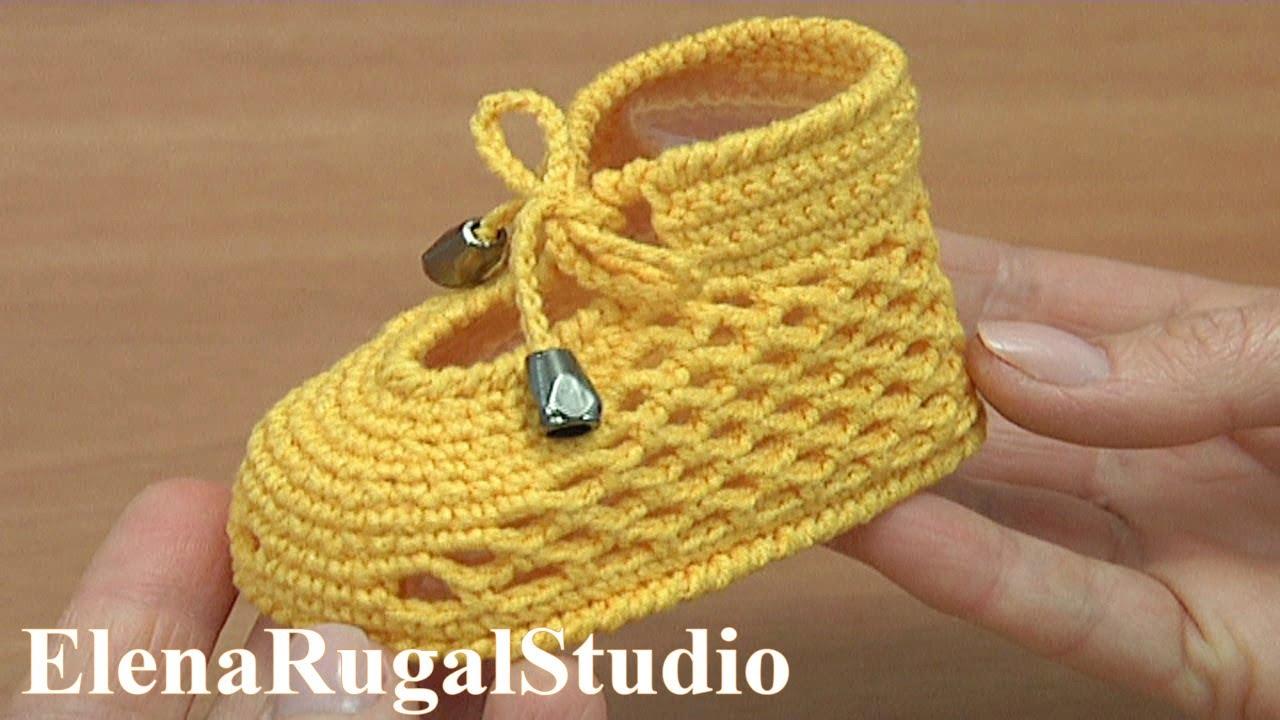 1a02230b8 Crochet Shoes For Baby Tutorial 289 Sapatos De Crochê Para O Bebê ...