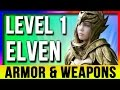 Skyrim Special Edition Best Light Armor & Weapons ELVEN At LEVEL ONE Location (Remastered Starter)