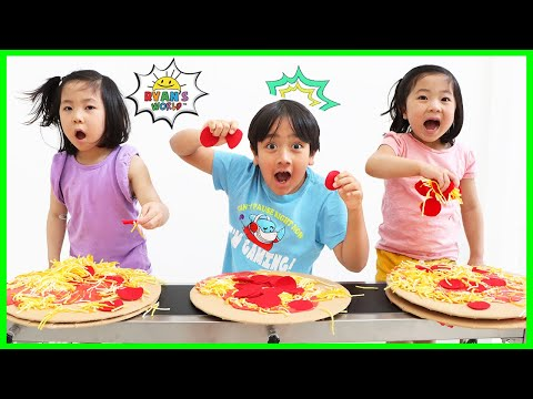 Ryan Making PIZZA on Conveyor Belt Challenge!!!