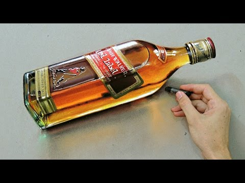 """Time Lapse: Whisky Red Label """"Bottle"""" - hyper-realistic art """"Fabiano Millani"""""""