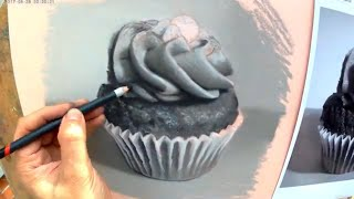 "Timelapse video of ""Cupcake"" - a charcoal drawing demonstration by Tom Mulliner"