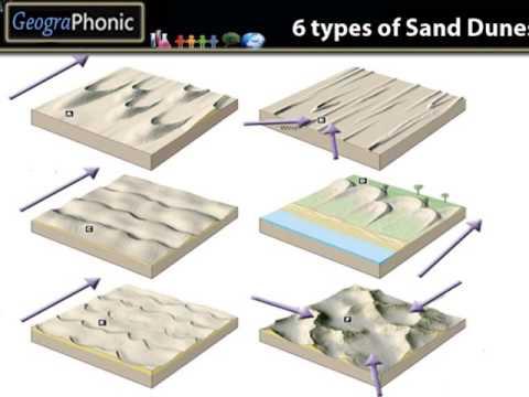 6 types of sand dunes barchans seifs star dunes