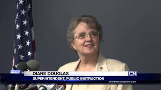 Diane Douglas shoves mics during meeting