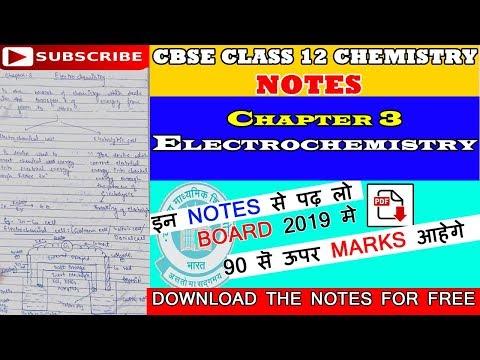 CBSE | Class 12 Chemistry Notes | Chapter 3 | Electrochemistry | PDF