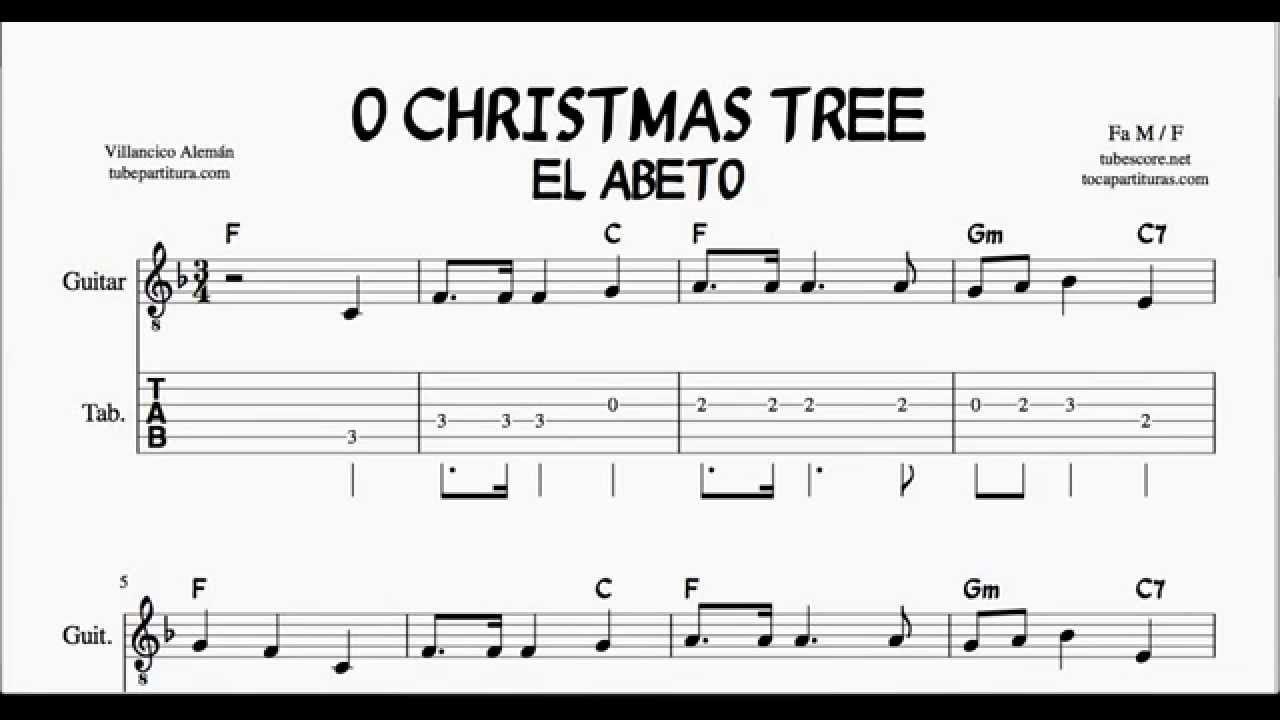 O Christmas Tree in F Major Tabs Sheet Music for guitar with chords ...