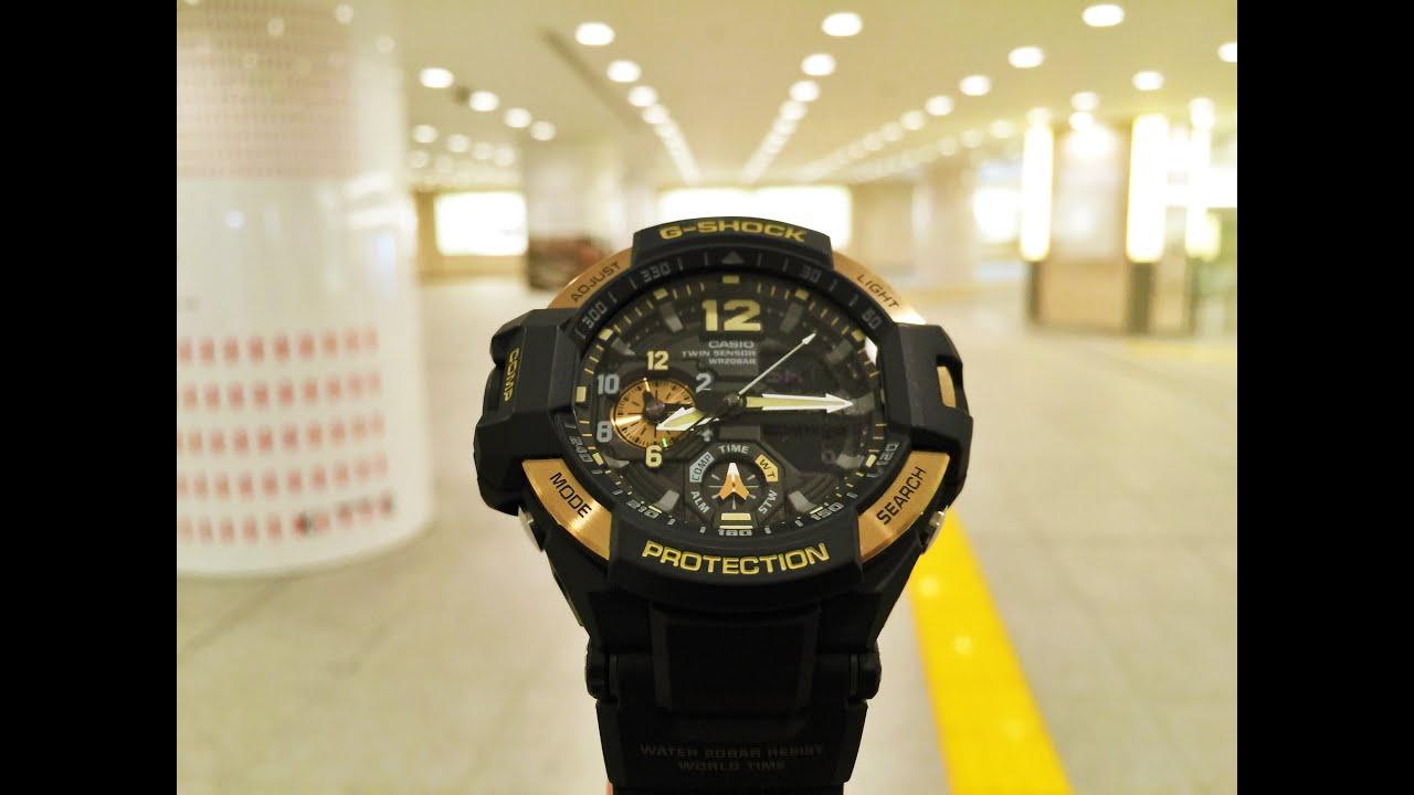 8e0dc20fe528 G-Shock GA-1100-9GJF Skycockpit Gravitymaster Gold Black (unboxing + review)