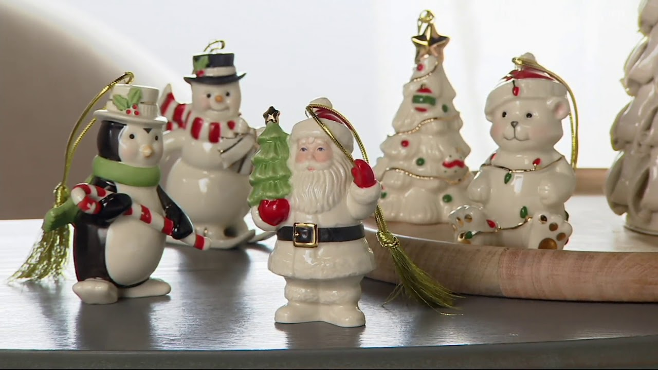 lenox set of 5 porcelain ornaments with 24k gold accents boxes on qvc - Lenox Christmas Decorations