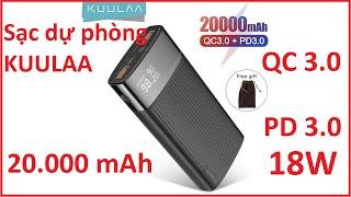 Pin sạc dự phòng Kuulaa sạc nhanh PD 3.0 QC 3.0 18W