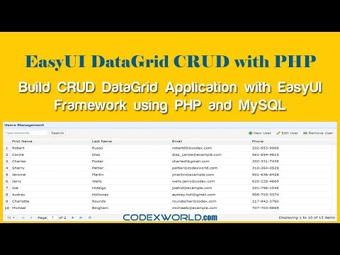 Build CRUD DataGrid with jQuery EasyUI using PHP and MySQL thumbnail
