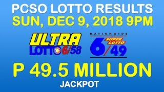Lotto Result December 9 2018 9pm PCSO (6/58, 6/49, ez2, suertres, stl)
