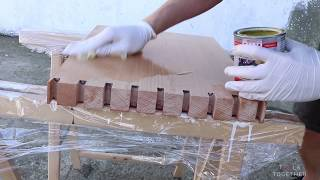 Making of the Japanese style modern minimalist bench – woodworking without screws.