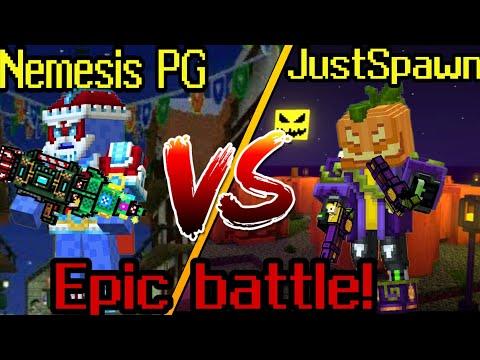 Pixel gun 3d. Nemesis PG VS JustSpawn. Christmas set VS halloween set. Epic battle!