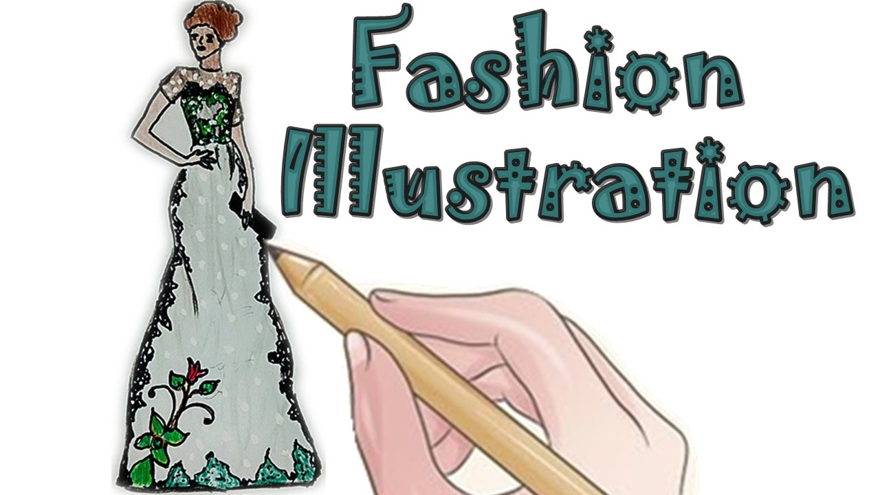 Fashion Illustration Floral Party Dress Roses YouTube