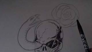 Tattoo Art: Skull And Snake Tattoo Drawing Video