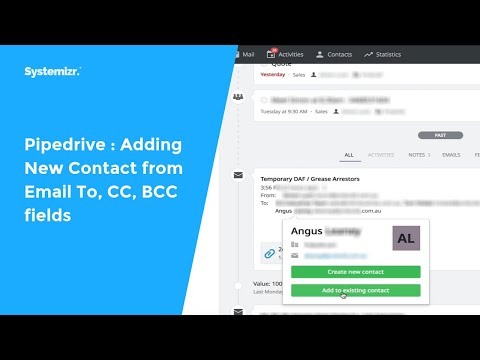 Pipedrive : Adding New Contact from Email To, CC, BCC fields
