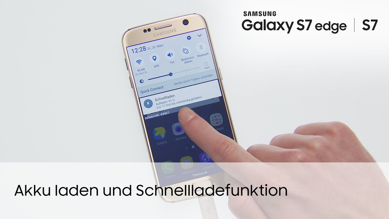 samsung galaxy s7 s7 edge akku laden und schnellladefunktion youtube. Black Bedroom Furniture Sets. Home Design Ideas