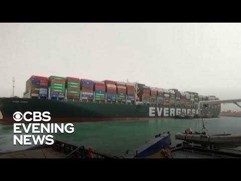 Major operation underway to free ship from Suez Canal