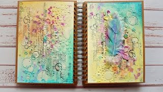 Mixed media art journal spread by JaMajka
