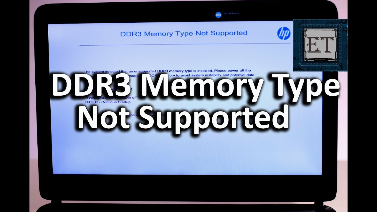 DDR3 Memory Type Not Supported