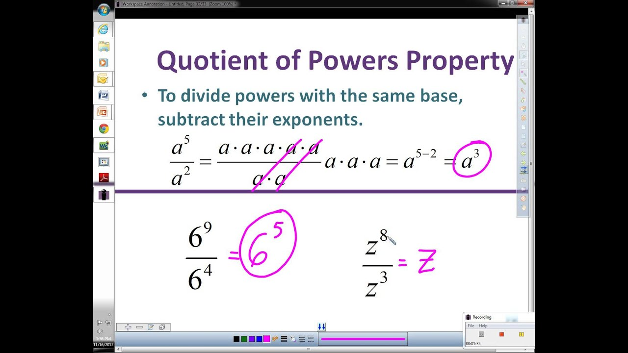 4 5 Rules Of Exponents Quotient Of Powers Property