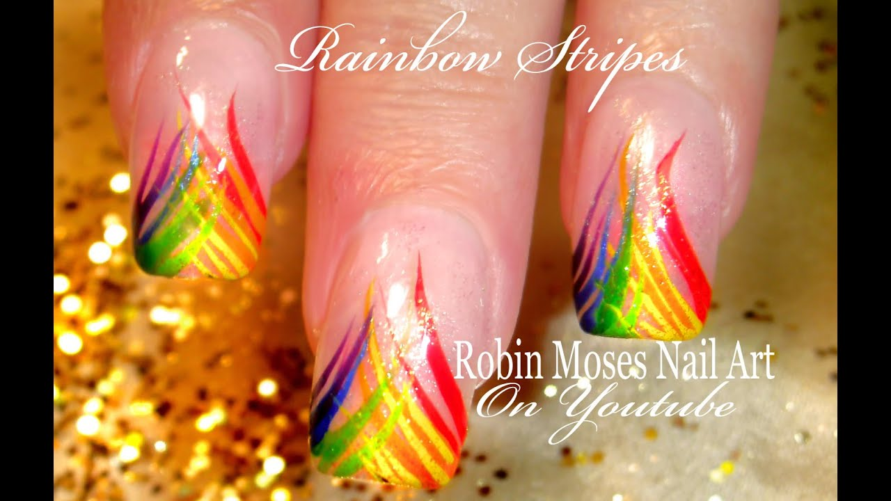 Easy rainbow stripe nail art design tutorial youtube prinsesfo Image collections