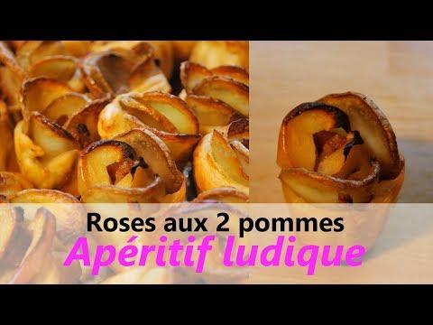 RECETTE apéritif facile & rapide - Roses feuilletées aux 2 pommes