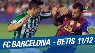 Resumen de FC Barcelona vs Real Betis (4-2) 2011/2012