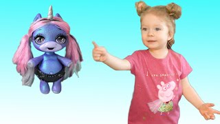 Find and seek play with new toys. Poopsie slime unicorn for Sasha. Story for kids by Sasha