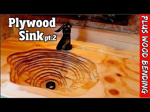 Rustic Plywood Sink With Custom Bent Back Splash