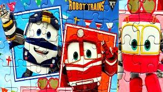 Роботы Поезда - собираем пазлы для детей с героями мультика Robot Trains   Danik and Lesha