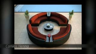 7 Piece Urbana Eclipse  Modern Round Outdoor Wicker Sectional Sofa Set By Harmonia Living