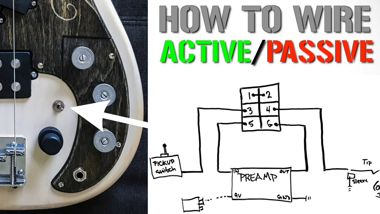 how to wire an active passive bypass switch for a bass preamp [ 1280 x 720 Pixel ]