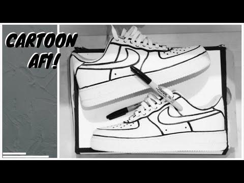 CUSTOM CARTOON AIR FORCE 1's!!! | Sharpie | AIROS