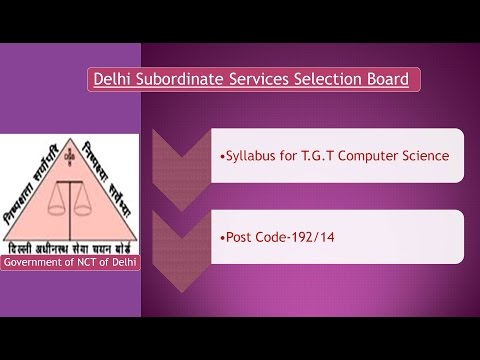 DSSSB Syllabus for TGT Computer Science Post Code:192/14