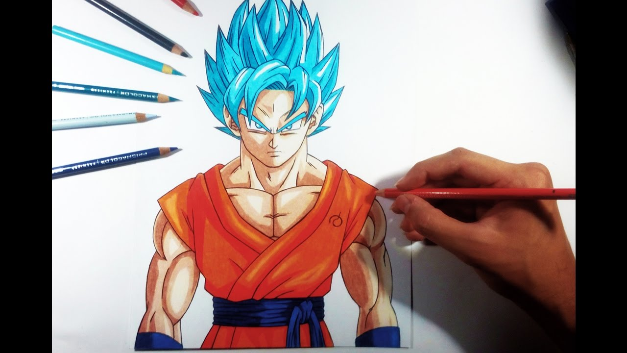 Como Dibujar A Goku Super Sayayin: Drawing Goku Super Saiyajin Blue