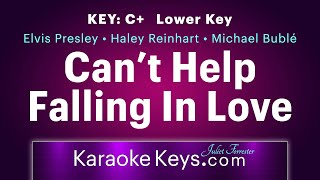 Can't Help Falling In Love With You • C+ • Lower Key • Karaoke Piano • WITH LYRICS