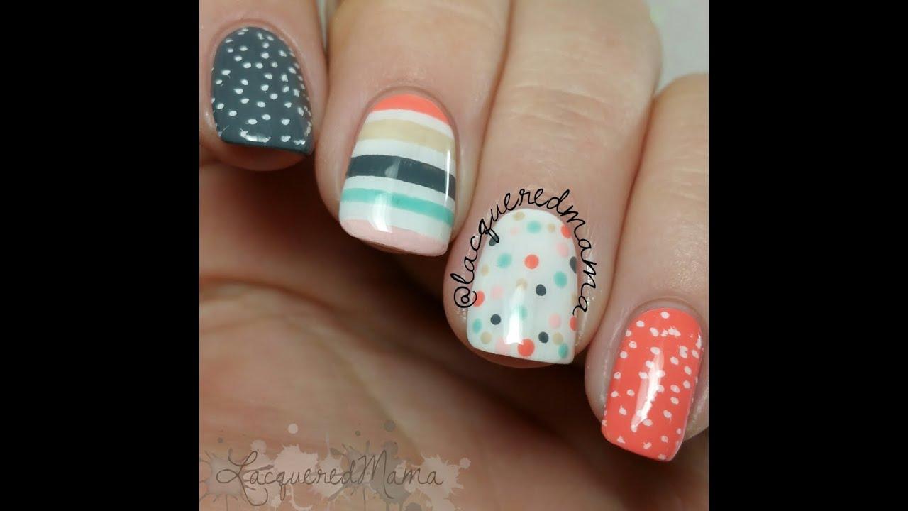 Stripes polka dots stamping easy nail art youtube prinsesfo Choice Image