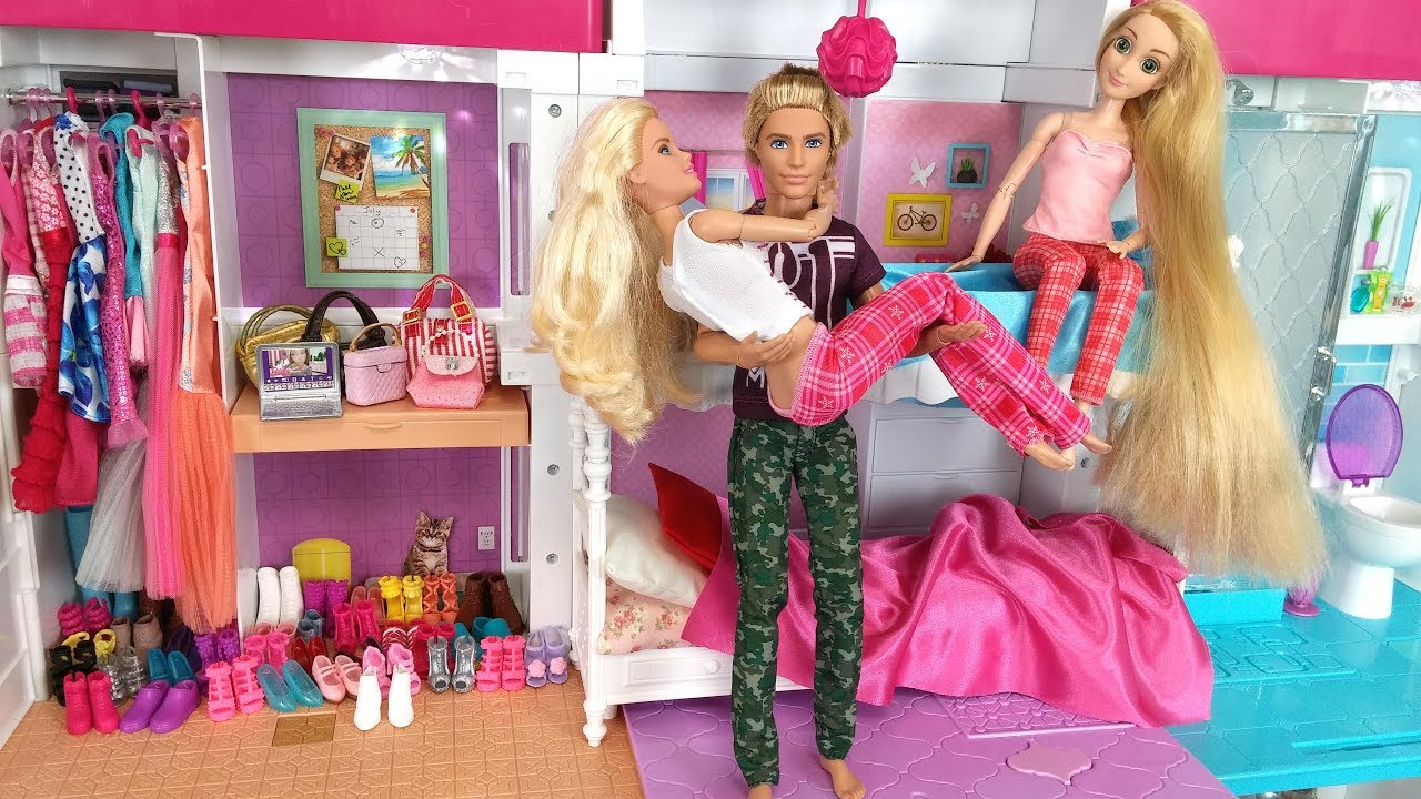 Barbie Ken Rapunzel Dream House Morning Routine For School