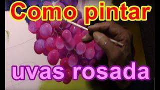 Vídeo aula ensinando passo a passo como pintar uvas rosada