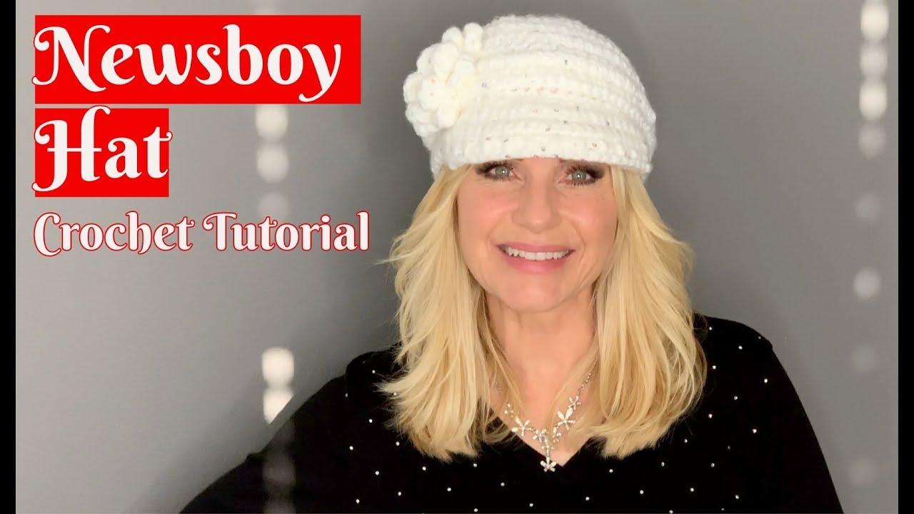 c1f790b9 💖 Newsboy Hat 💖 Crochet Tutorial - YouTube