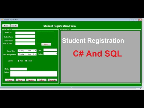 "Student Registration Form ""Design"" In C# Sql 1 - Youtube"