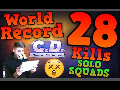 *WORLD RECORD* [MOBILE] Solo Squads 28 Kills! | Creative Destruction