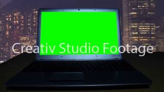 Notebook with a green  screen in a dark room(, 2016-09-16T16:04:13.000Z)