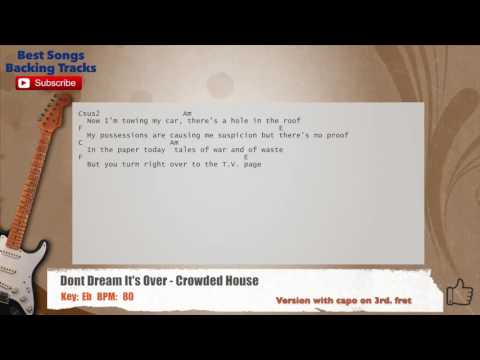 Don't Dream It's Over - Crowded House Guitar Backing Track with chords and lyrics
