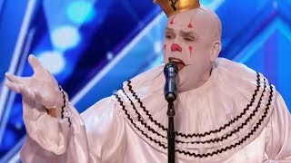 sad shy clown with his mind blowing version of sias chandelier week 1 americas got talent 20