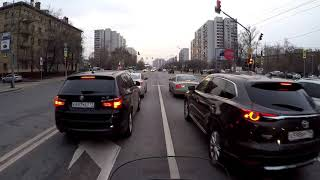 Riding Harley Electra Glide in Moscow traffic