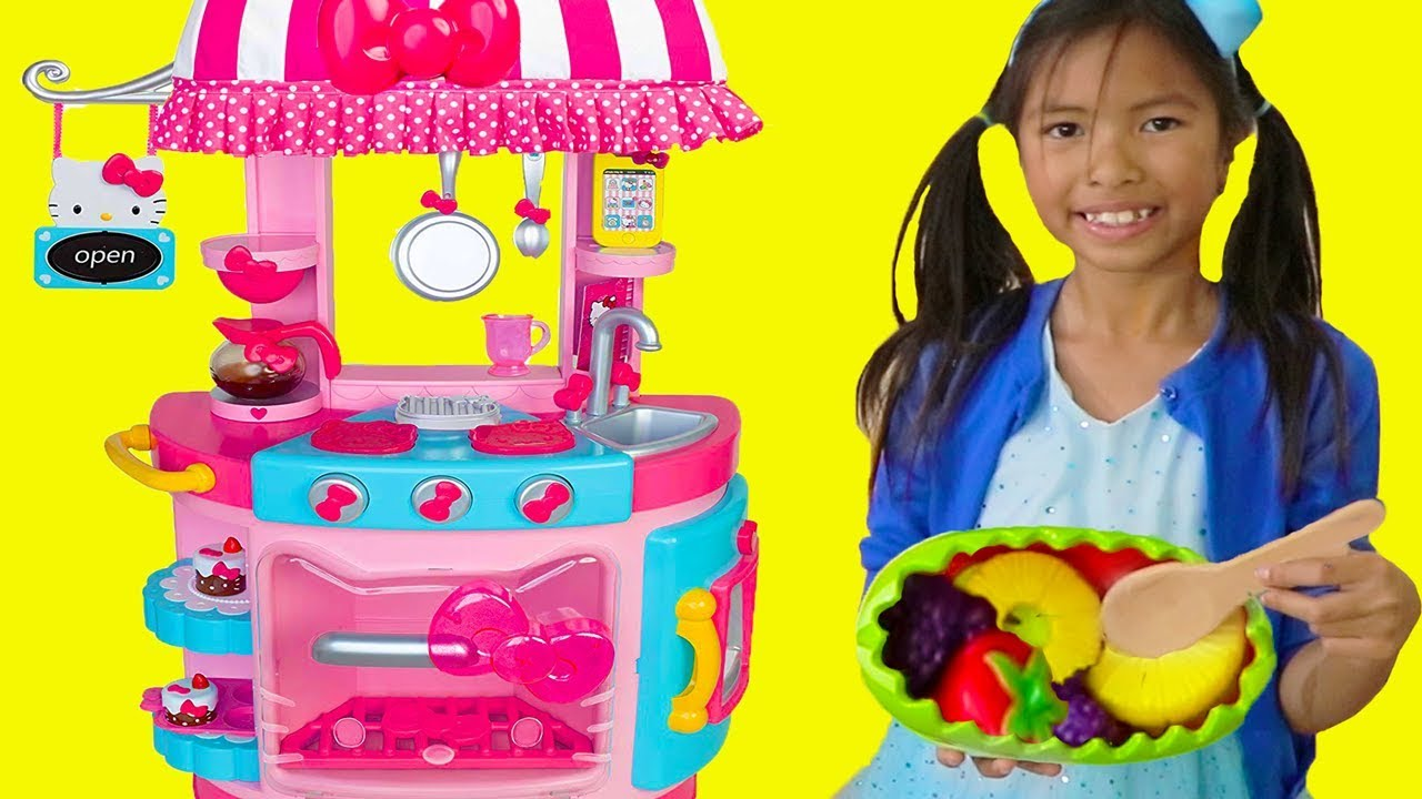 Wendy Pretend Play w Hello Kitty Kitchen &Tea Party Kids Food Toys