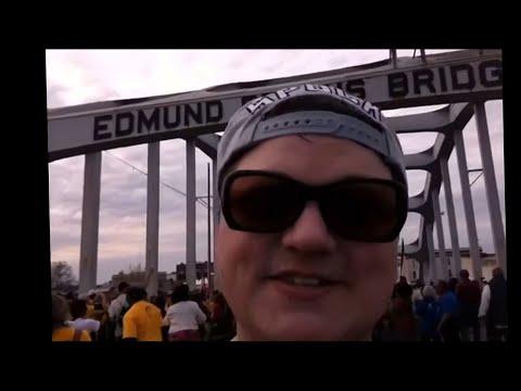 Lyla Miklos on the Edmund Pettus Bridge in Selma, Alabama - Sunday, March 8, 2015