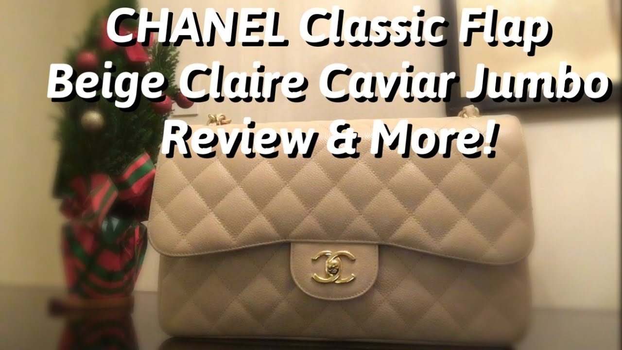 2cbb2509fc1a CHANEL Beige Claire Jumbo Classic Flap Review & What's in my bag ...
