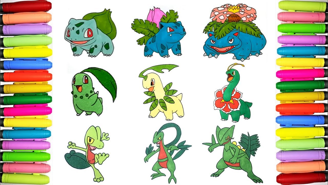 Grass Starters Pokemon coloring pages #1